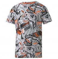 ДЕТСКА ТЕНИСКА PUMA ALPHA AOP TEE B WHITE/BLACK/ORANGE