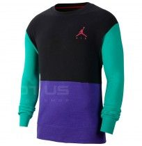 МЪЖКА БЛУЗА NIKE AIR JUMPMAN AIR FLEECE CREW BLACK/GREEN/PURPLE